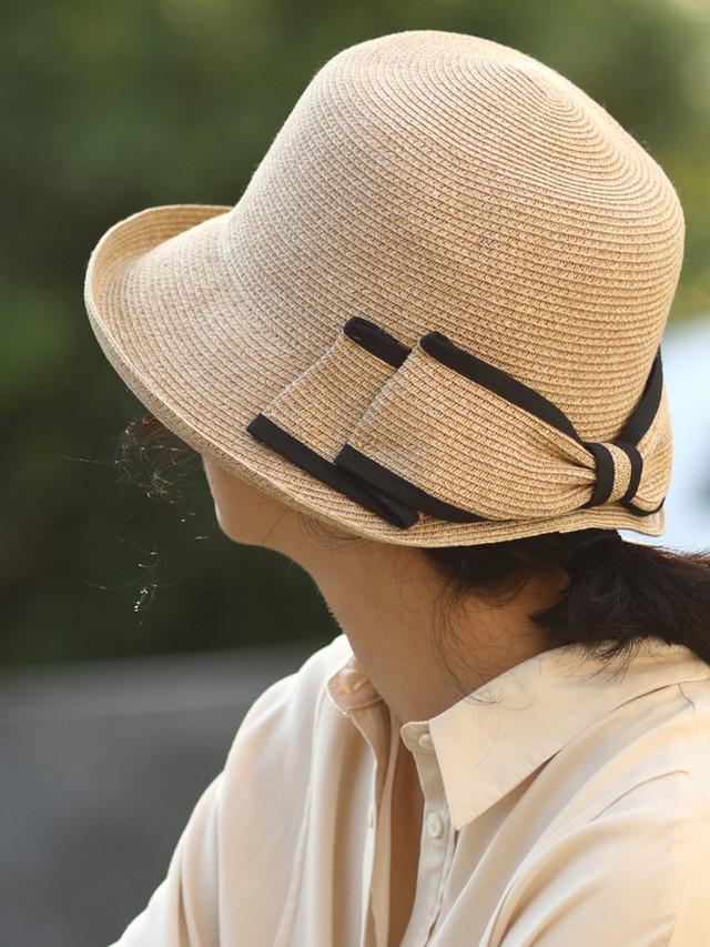 【日焼け対策にパイピングリボン付き☆レディース ペーパー ストローハット】女性 レディース 麦わらハット 帽子 夏 ハット UVカット UV帽子 UV ハット 日焼け止め UV対策 紫外線カット 紫外線対策 レディース帽子 ベージュ ホワイト ブラック 20代 30代 40代 送料無料
