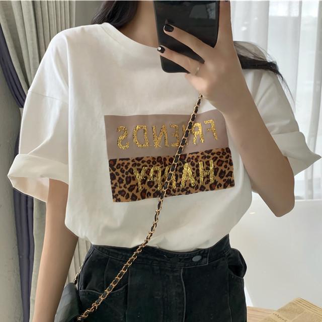 レオパードロゴプリントTシャツ