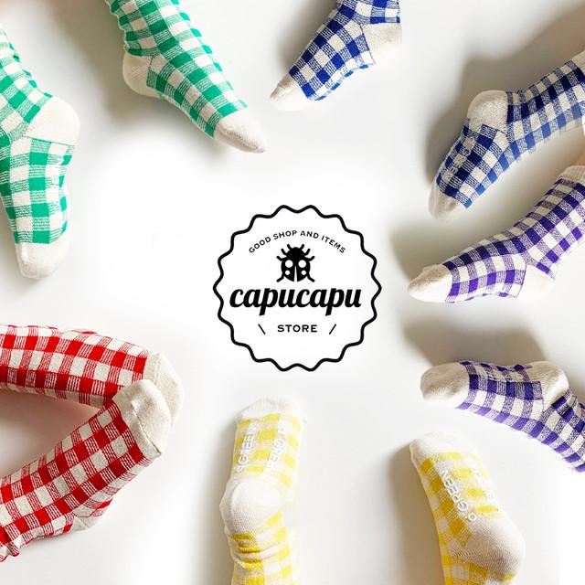[予約][5足セット][ママサイズあり] vivid gingham check socks