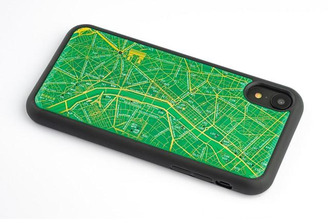 FLASH Paris回路地図 iPhone XRケース 緑【東京回路線図A5クリアファイルをプレゼント】