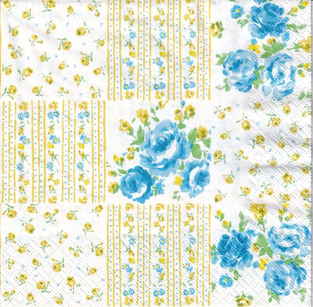 【Aimez le style】バラ売り1枚 ランチサイズ ペーパーナプキン フラワーパッチワーク ブルー