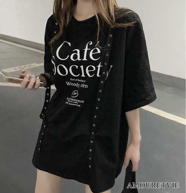 Tシャツ カットソー スタイリッシュ 黒 ブラック 白 ホワイト ロックテイスト ストリート ピープス オルチャン 韓国ファッション 1544