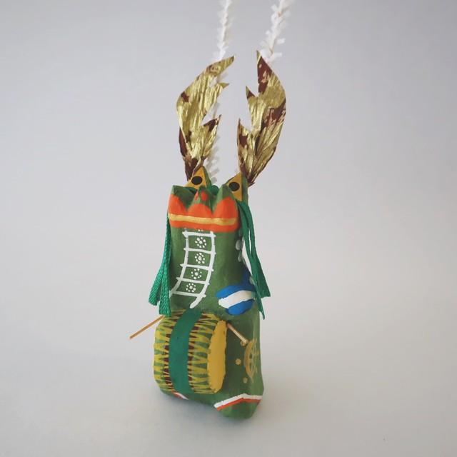 和紙張子「鹿踊(ししおどり)」緑