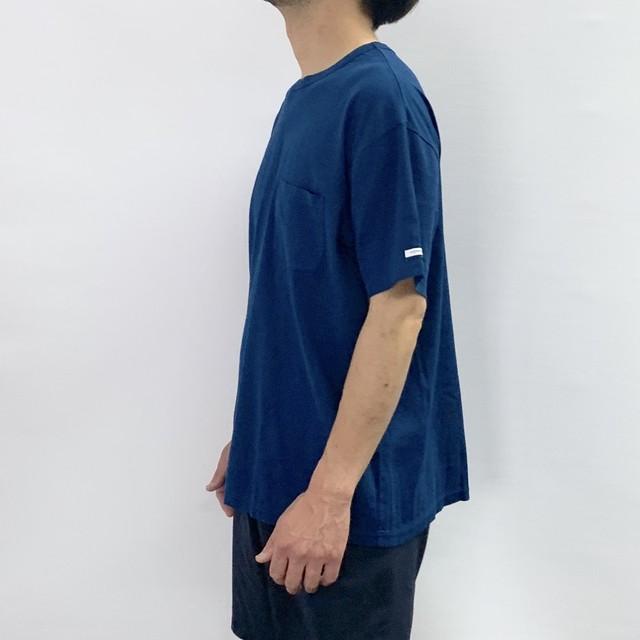 【BIWACOTTON】クルーネックポケットTシャツ:ブルー