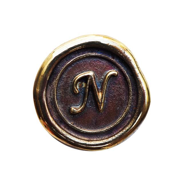 シーリングイニシャル S 〈N〉 ブラス / コンチョボタン