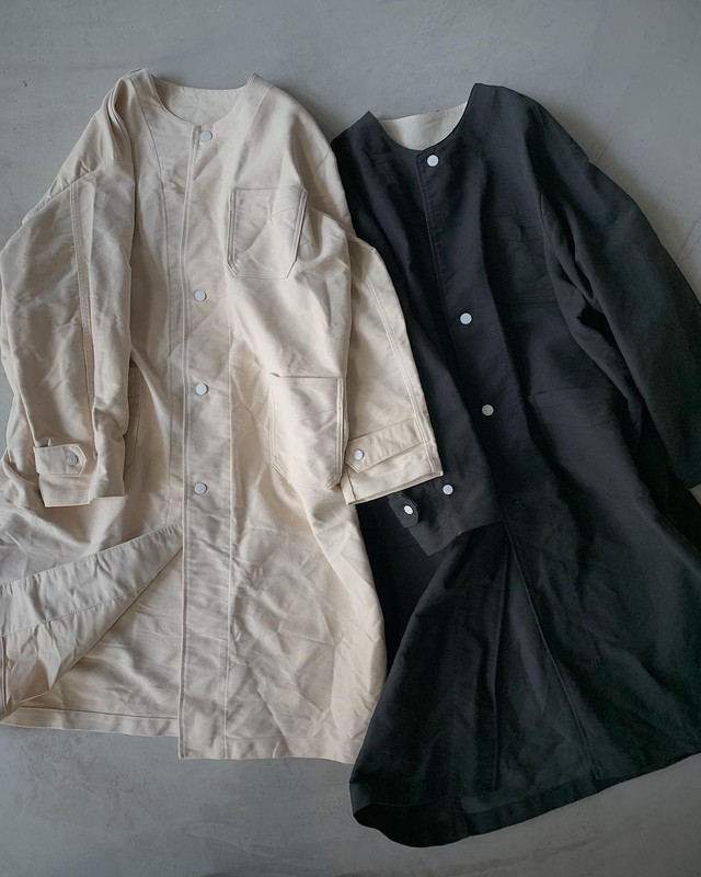remake no collar work coat