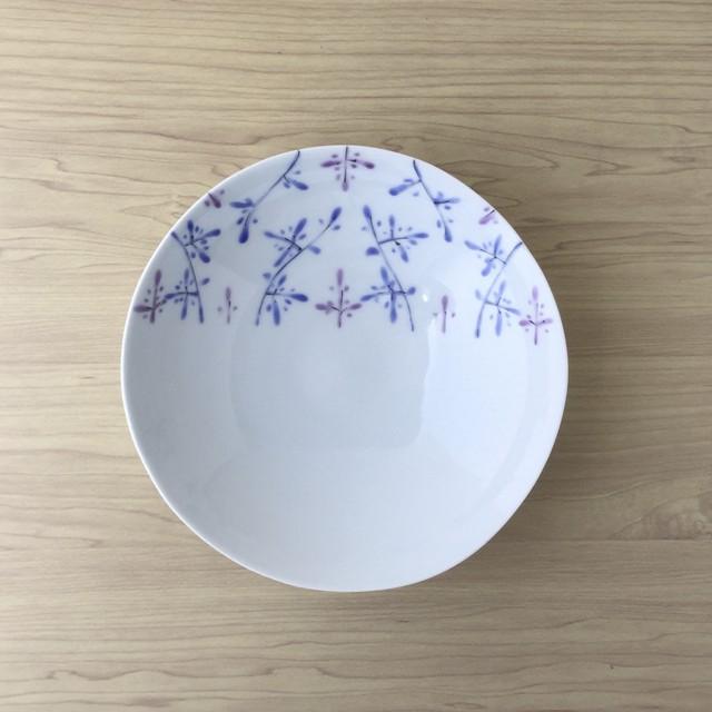 【波佐見焼】錦小枝二色紫 薄手七寸深鉢