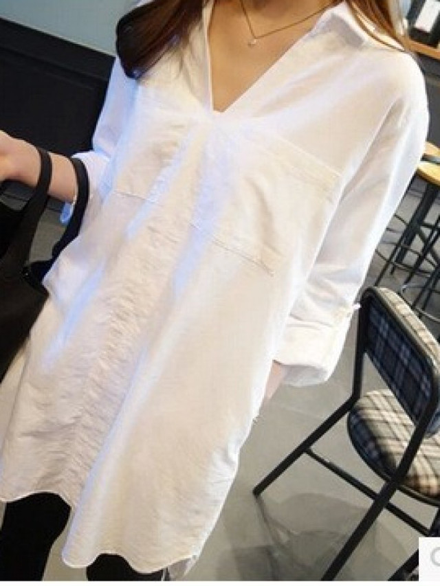 【tops】Loose large size long sleeve V-neck shirt