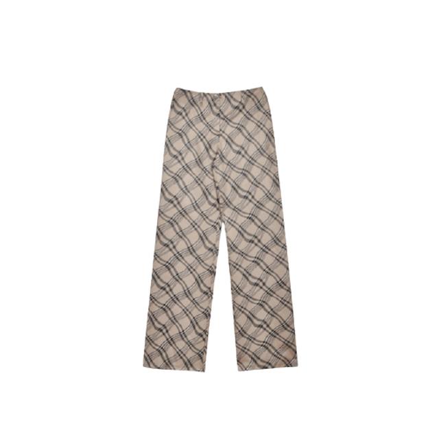 【即納】beige check pants
