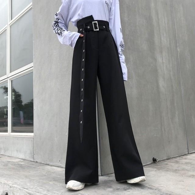【bottoms】おしゃれ無地ハイウエストベルト付きブラックカジュアルガウチョパンツ