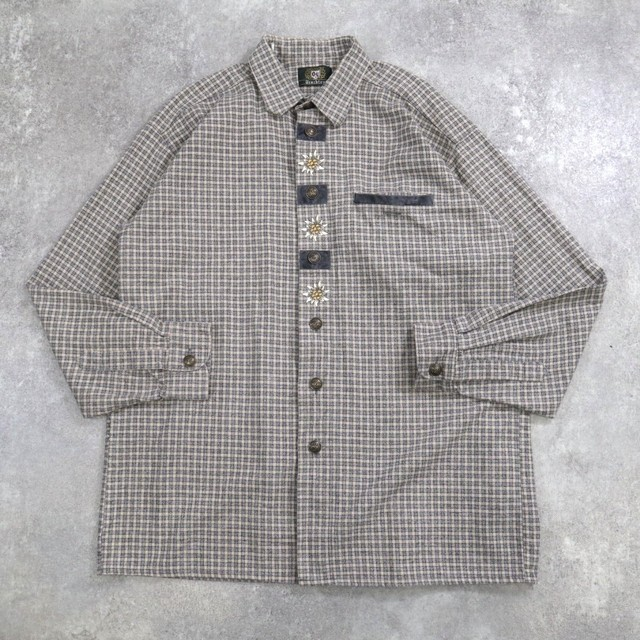Flower embroidery Tyrolean shirt