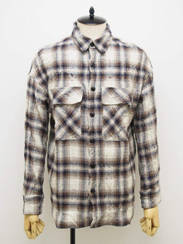 EGO TRIPPING (エゴトリッピング) SCRATCH HUGE CHECK SHIRT / IVORY系   613104-01