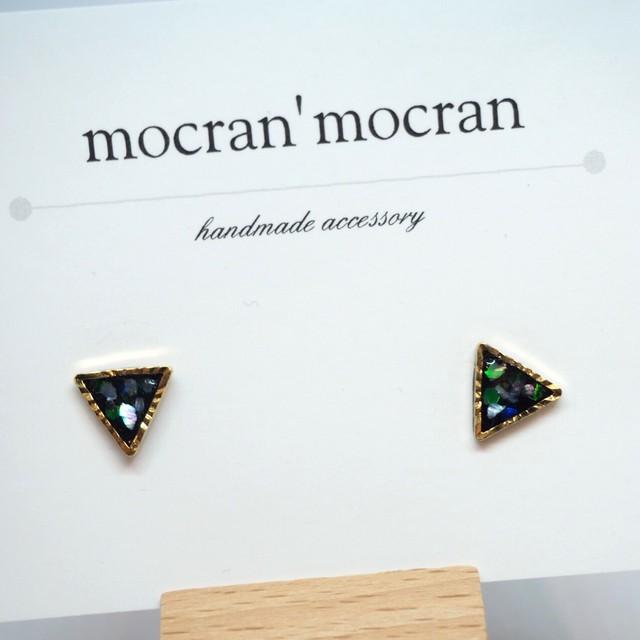 【mocran'mocran】ミニピアス/イヤリング 黒・三角