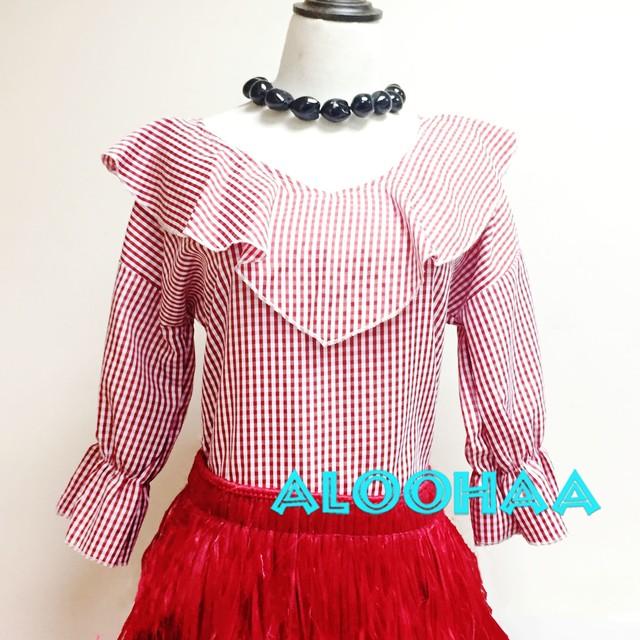 【黒・赤】チェック柄ブラウス  フラダンス衣装
