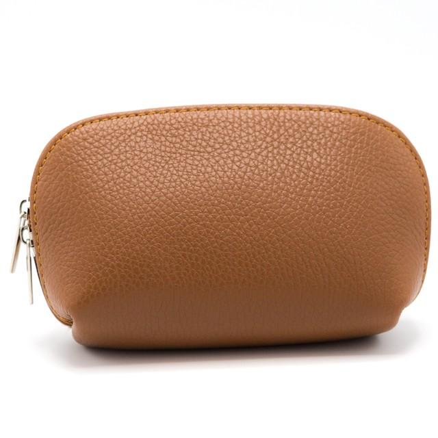 イタリア 化粧ポーチ バッグインバッグ キャメル・赤・ピンク