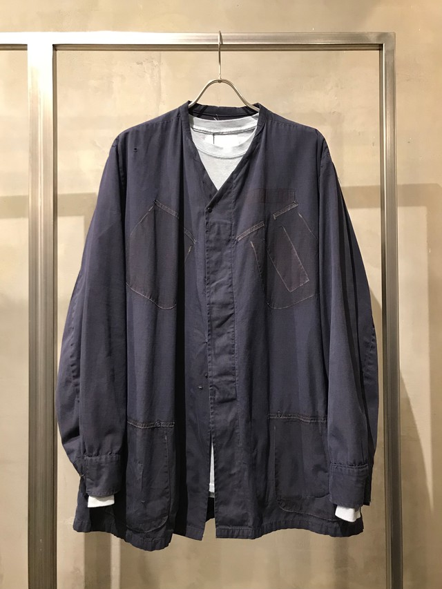 TrAnsference collarless fatigue shirt blouson - midnight