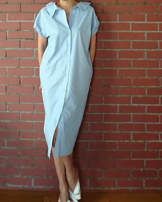 DRESドレス バックオープンシャツワンピース/ブルー