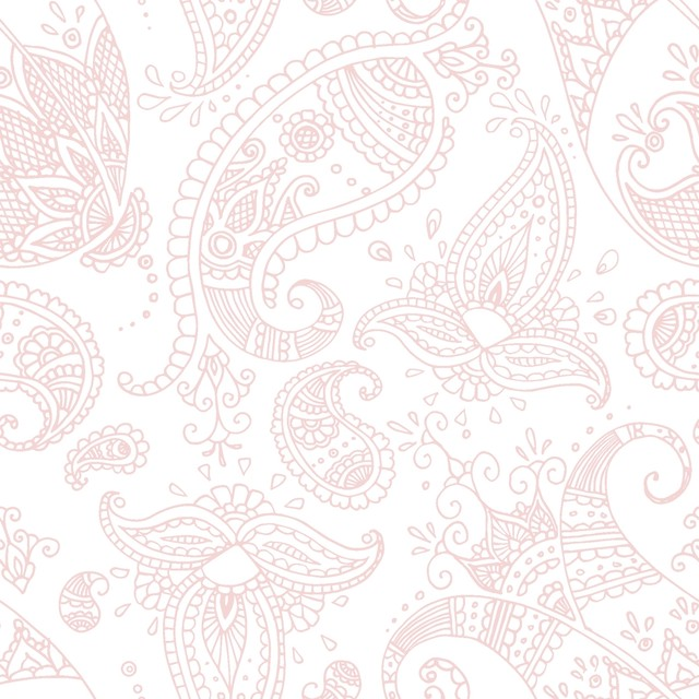 【Paperproducts Design】バラ売り2枚 ランチサイズ ペーパーナプキン PAISLEY ホワイト×ピンク