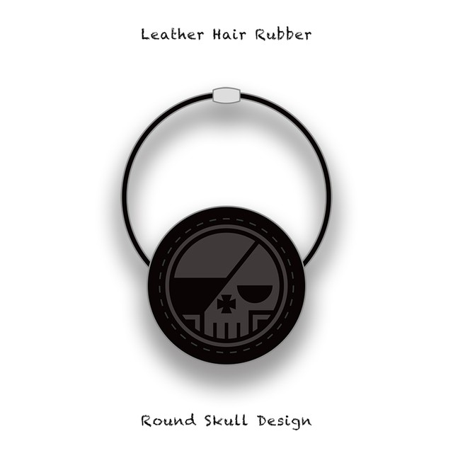 Leather Hair Rubber / Round Skull Design 001
