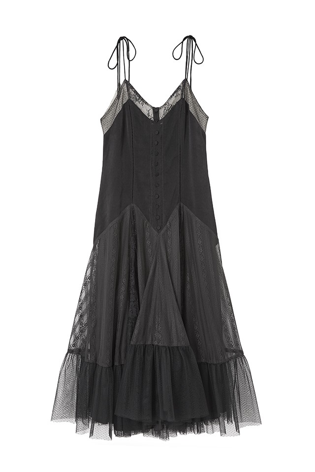 Lace-Trimmed Satin Cami Dress
