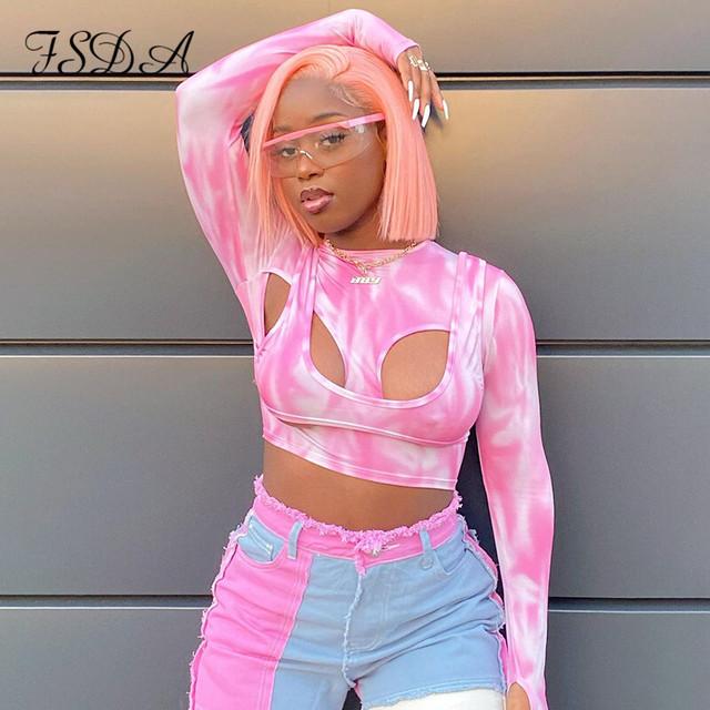 ✨新商品✨ FSDA2021女性Oネックピンク長袖Tシャツセクシーな中空アウトタイダイプリント2ピースY2kクロップトップ ロング fsda6846532361