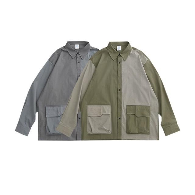 【UNISEX】パッチワーク ロングスリーブ シャツ【2colors】UN-A0168