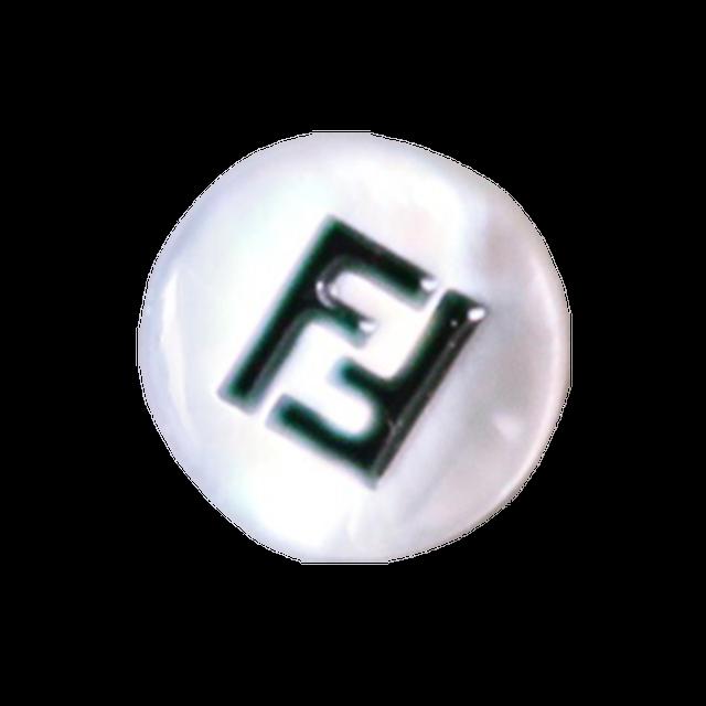 【VINTAGE FENDI BUTTON】ラウンド白蝶貝 FFボタン 1㎝ F-20002 A