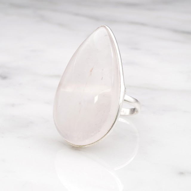 SINGLE BIG STONE RING SILVER 016