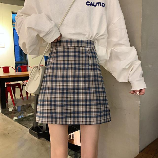 ガーリーチェック台形スカート  D1140