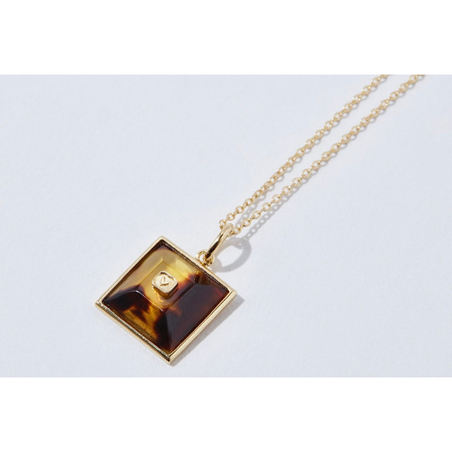 TORTOISE SHELL GOLD NECKLACE SQUARE HEART (LIMITED)