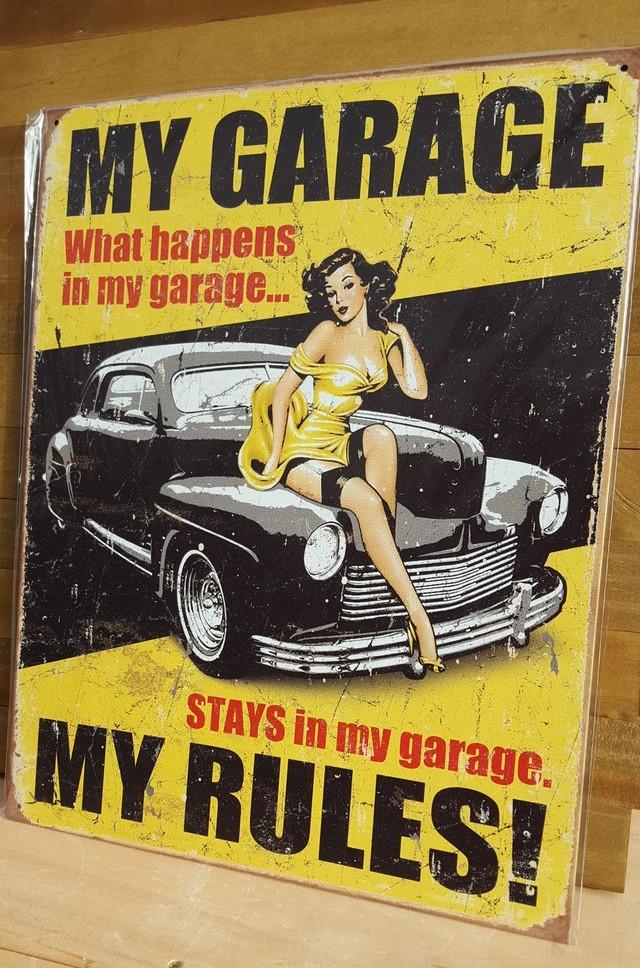 引続きセール主力商品20%OFF!  【ブリキ看板】My garage My rules 1671 【ティンプレート】