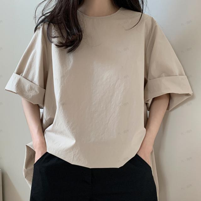 【トップス】絶対欲しい!ラウンドネック 無地 カジュアル シンプル 韓国系 半袖 入学式 卒業式 お呼ばれ Tシャツ46491629