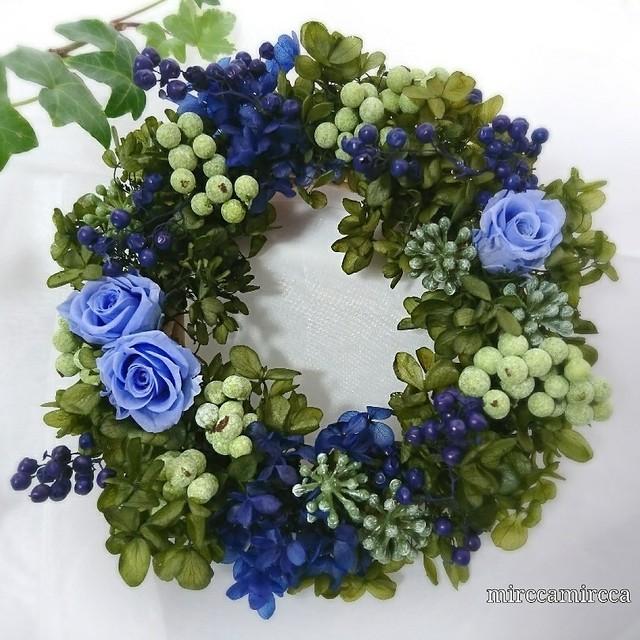 プリザーブドフラワーリース  ブルー Sサイズ