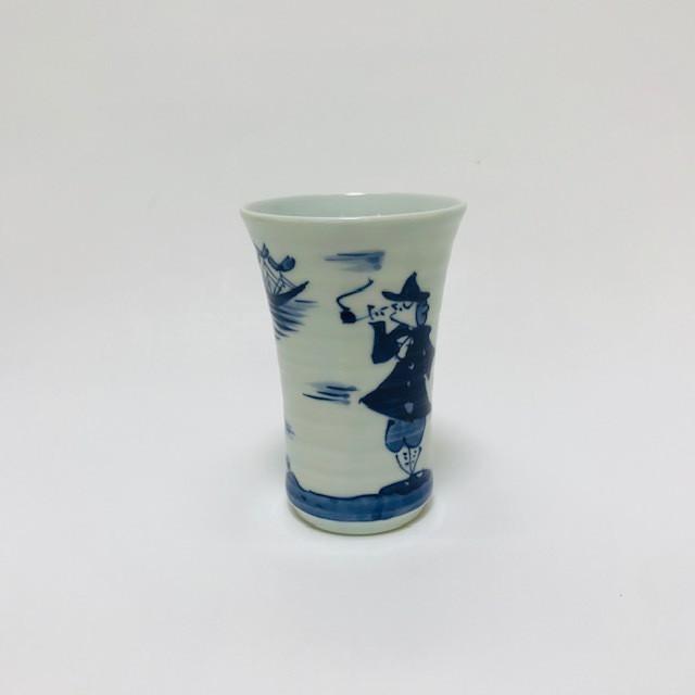 【青花】 二人異人ビアカップ
