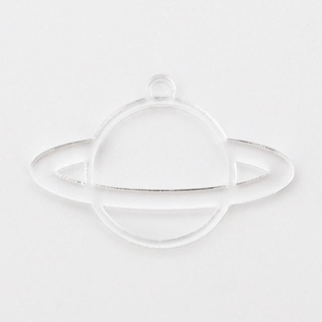 《土星》アクリル 空枠 透明 レジン