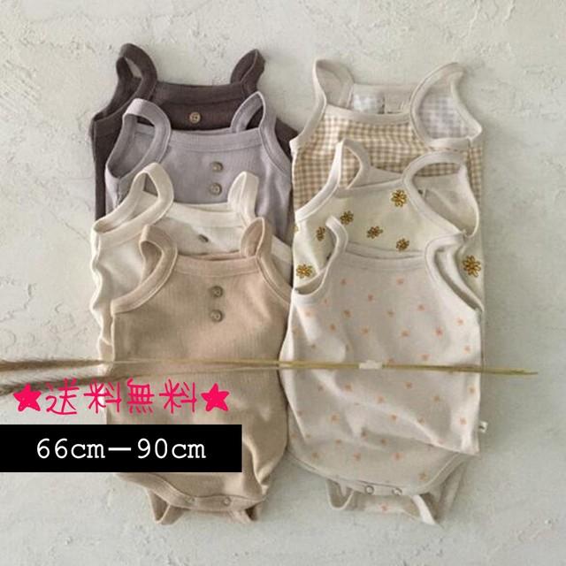 【66cm-90cm】ベビー キャミロンパース  全6カラー (304)