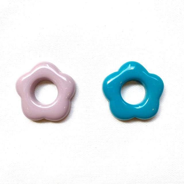 import parts (フラワーカボション、パープル、ブルー) 1p