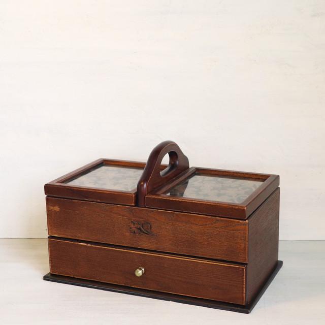 【R-316】クローバー柄 木製洋裁箱