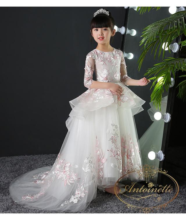 ピアノ発表会 発表会 演奏会 子供用 こども ドレス ロングドレス kids dress white wedding cute キッズ ウエディング ドレス ホワイト ピンク かわいい mama