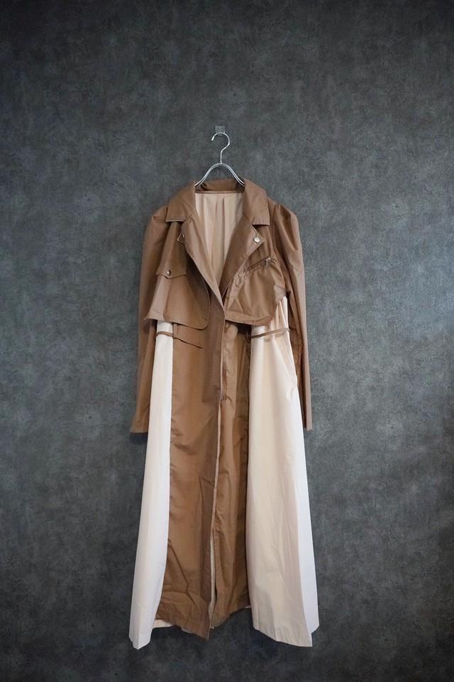 【2021緊急SALE】℃℃℃ bi-color shirt  trench coat  beige