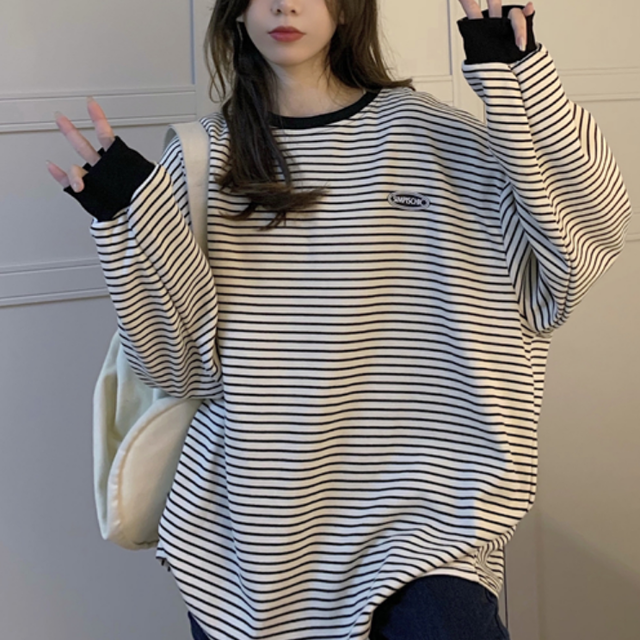One point logo border long tee LD0509