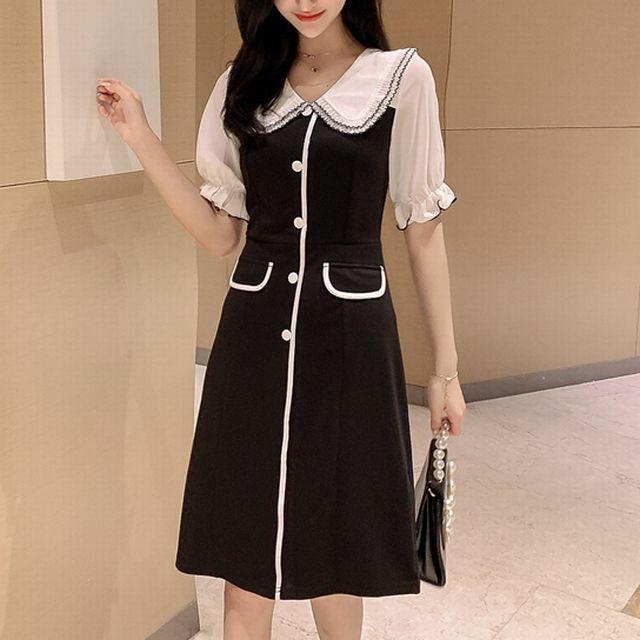 レディース 襟付 フロントボタン ロングワンピース フェミニン 春コーデ 夏コーデ / Hepburn Little Black Dress (DCT-596243331340)