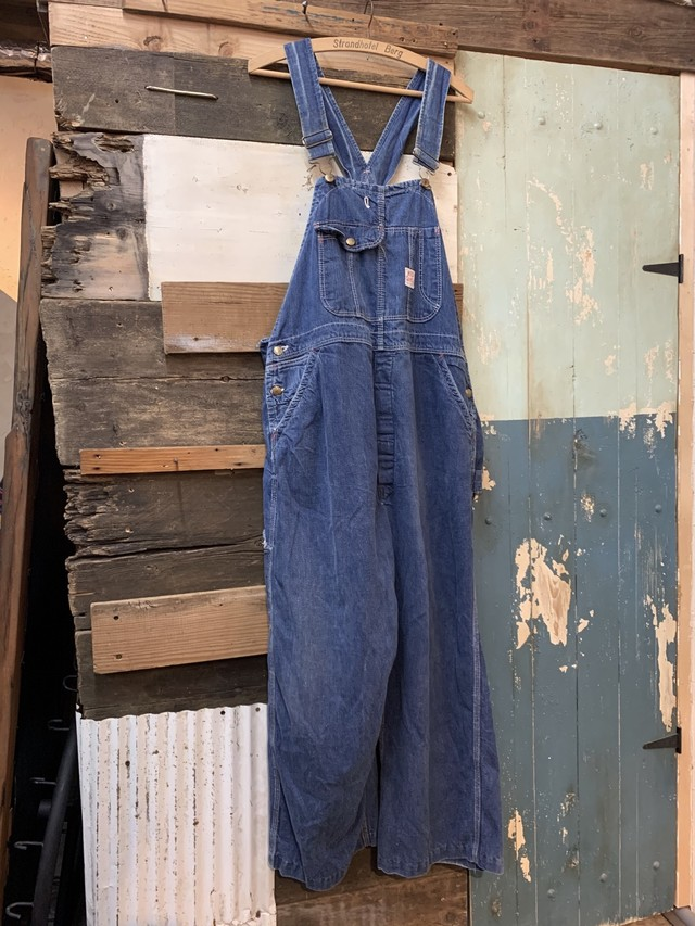 60's red camel denim overalls