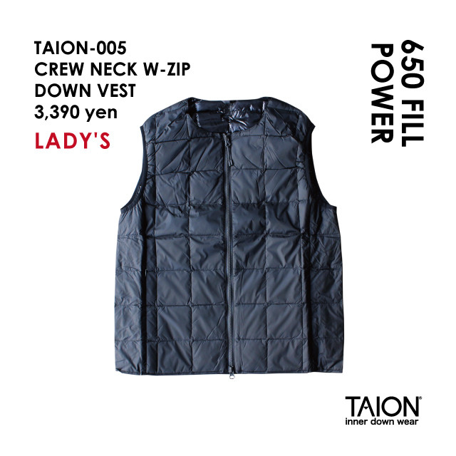 Free shipping NOW!! / Ladies' / TAION-005 CREW NECK W-ZIP DOWN VEST / Black / 2018