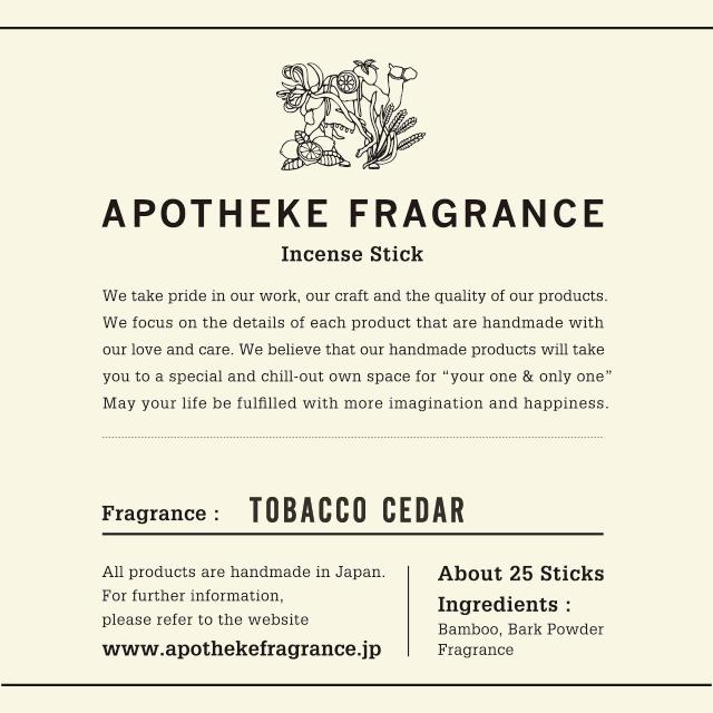 INCENSE STICKS / Tobacco Cedar