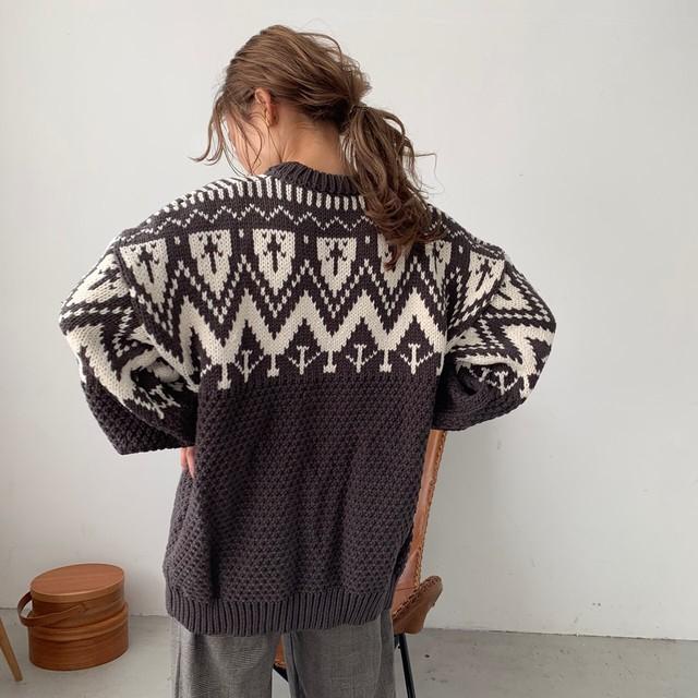 Pattern knit ※11月下旬お届け予定