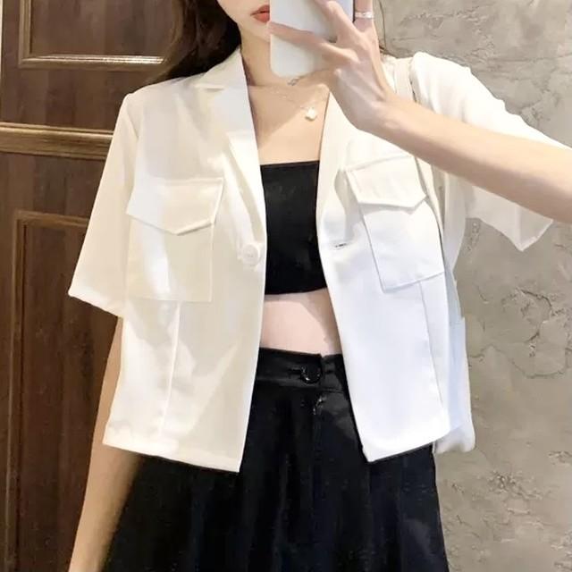 シンプル 半袖 ジャケット ポケット 2色 B7431