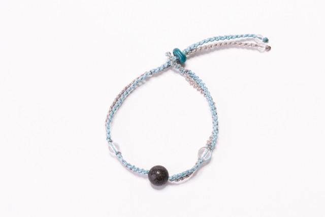 富士山溶岩ブレスレット[Lava Bracelet]〜 ライトグレ− × スカイブル−  〜