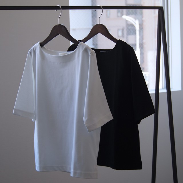 niuhans /  Heavyweight Cotton Boat Neck Tee[WHITE / BLACK]