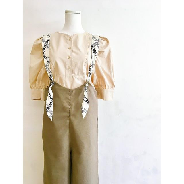 スカーフ風リボンのサロペット